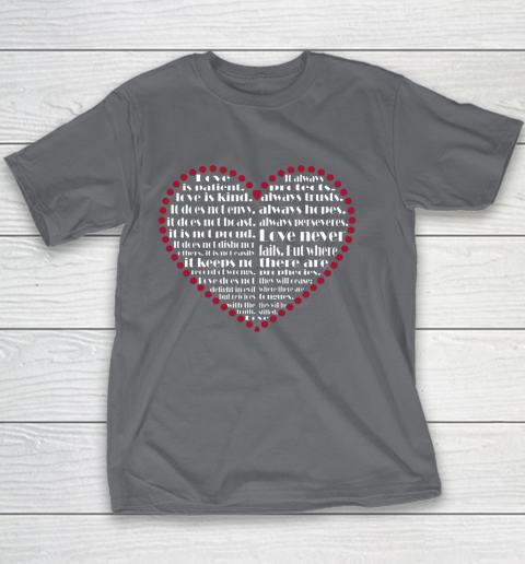 Love is patient love is kind Valentine Hearts Valentines day Youth T-Shirt 5