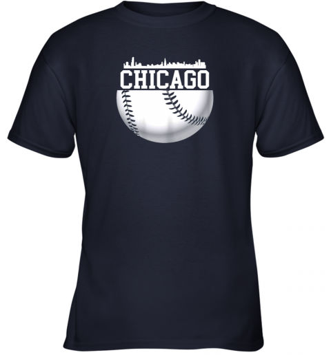 chju vintage downtown chicago shirt baseball retro illinois state youth t shirt 26 front navy