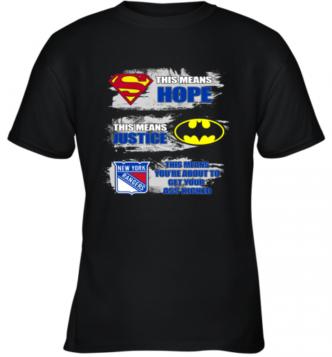 Superman Batman New York Rangers Kick Your Ass Youth T-Shirt