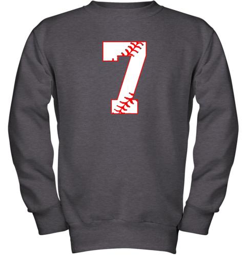 csjj cute seventh birthday party 7th baseball shirt born 2012 youth sweatshirt 47 front dark heather