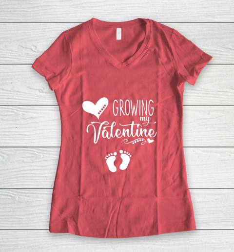 Growing my Valentine Tshirt for Wife Women's V-Neck T-Shirt 4