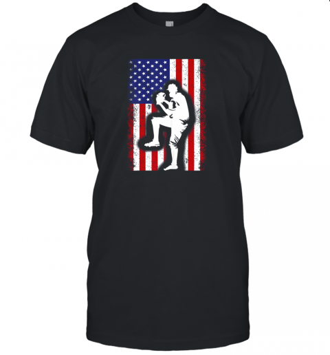 Vintage USA American Flag Baseball Player Team Gift Unisex Jersey Tee