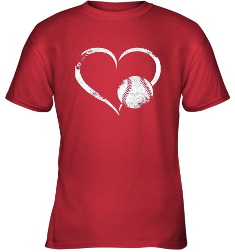 2382 i love baseballl funny baseball lover heartbeat youth t shirt 26 front red