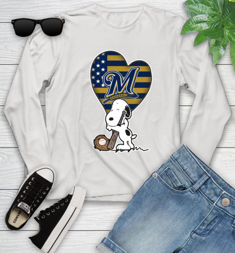 Milwaukee Brewers MLB Baseball The Peanuts Movie Adorable Snoopy (1) Youth Long Sleeve
