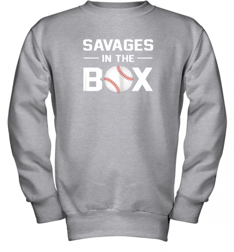 ycpr savages in the box shirt baseball gift youth sweatshirt 47 front sport grey