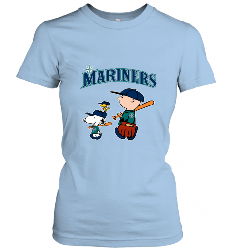 qwzx seatlle mariners lets play baseball together snoopy mlb shirt ladies t shirt 20 front light blue