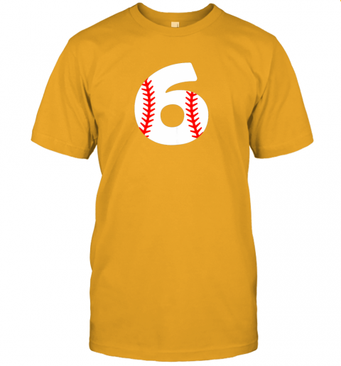 xrvz sixth birthday 6th baseball shirtnumber 6 born in 2013 jersey t shirt 60 front gold