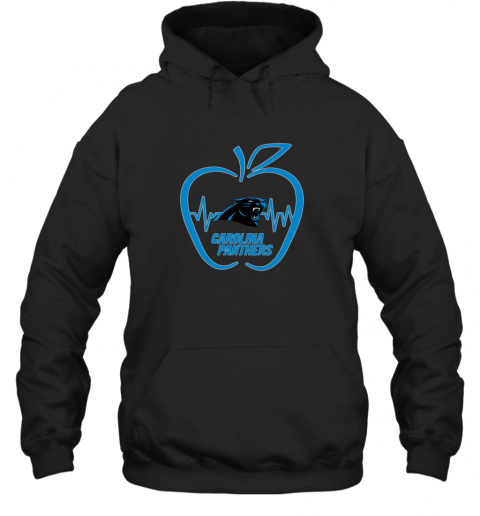 Apple Heartbeat Teacher Symbol Carolina Panthers Hoodie