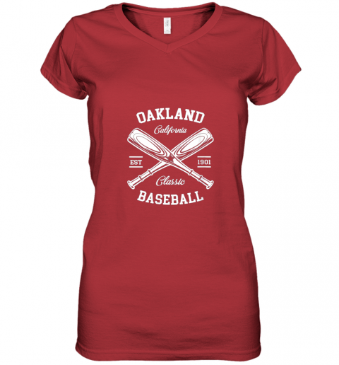 w5i9 oakland baseball classic vintage california retro fans gift women v neck t shirt 39 front red