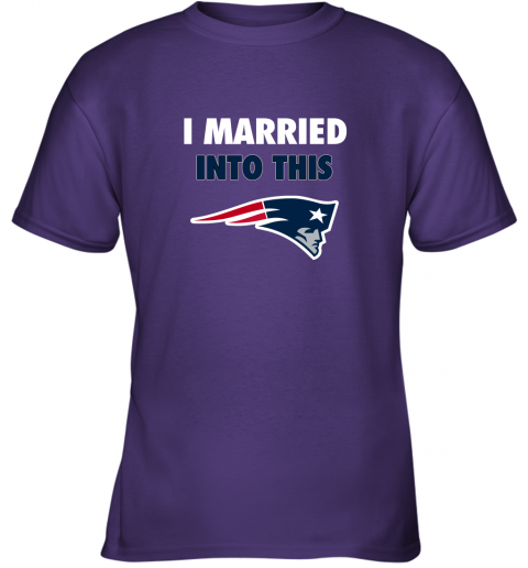 y9kh i married into this new england patriots football nfl youth t shirt 26 front purple