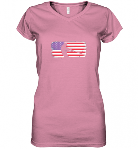 ysvs usa american flag baseball player perfect gift women v neck t shirt 39 front azalea