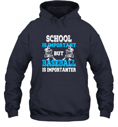 t26j school is important but baseball is importanter boys hoodie 23 front navy