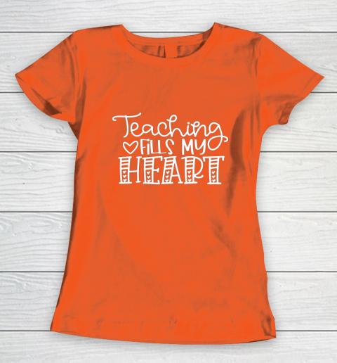Teaching Fills My Heart Valentine Cute Love Teacher Student Women's T-Shirt 3