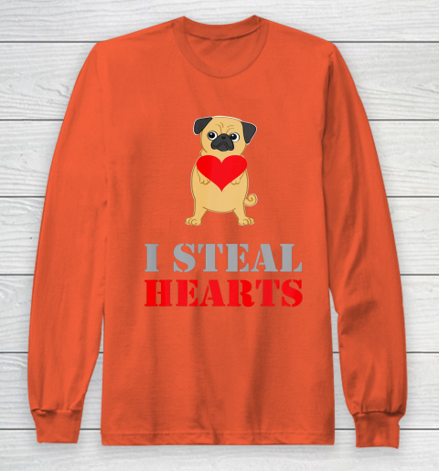 Pug Dog Valentine Shirt I Steal Hearts Long Sleeve T-Shirt 3