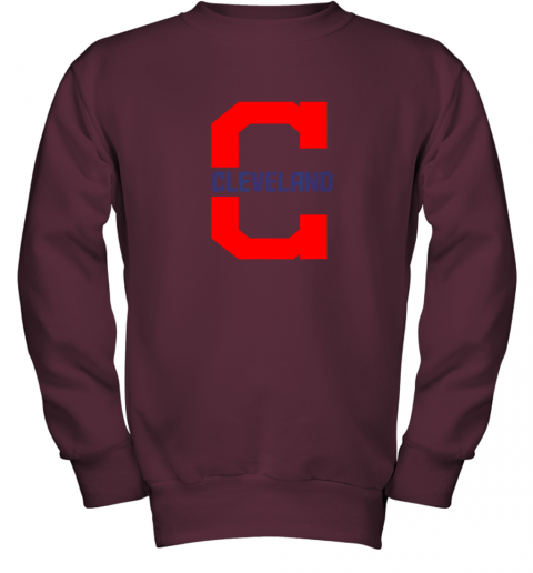 rknk cleveland hometown indian tribe vintage for mlb fans youth sweatshirt 47 front maroon