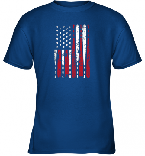 k68p vintage baseball bat american usa flag gift youth t shirt 26 front royal