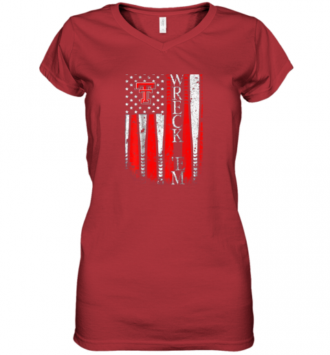 sqwq texas tech red raiders baseball flag team name women v neck t shirt 39 front red