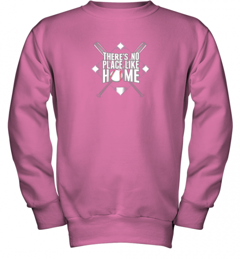 2wsq there39 s no place like home baseball tshirt mom dad youth youth sweatshirt 47 front safety pink
