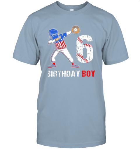 sstz kids 6 years old 6th birthday baseball dabbing shirt gift party jersey t shirt 60 front light blue