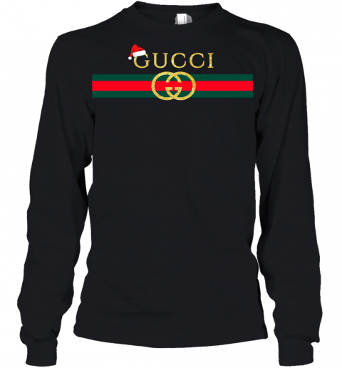 Gucci Glitter Logo Vintage Inspired Santa Hat Merry Christmas Gift Youth Long Sleeve T-Shirt