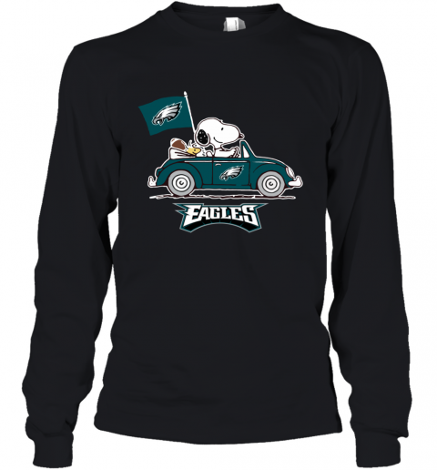 Snoopy And Woodstock Ride The Philadelphia Eagles Car Youth Long Sleeve