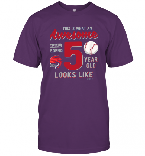 qc7u kids 5th birthday gift awesome 5 year old baseball legend jersey t shirt 60 front team purple