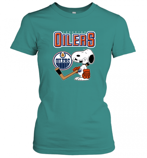 mutj edmonton oilers ice hockey broken teeth snoopy nhl shirt ladies t shirt 20 front tropical blue