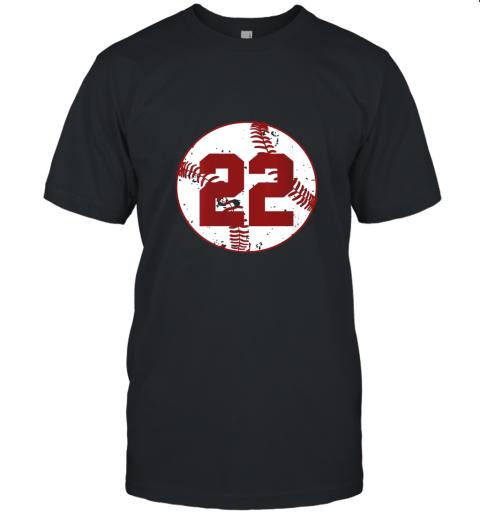 Womens Vintage Baseball Number 22 Shirt Cool Softball Mom Gift Unisex Jersey Tee