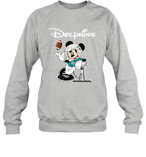 7z0i mickey dolphins taking the super bowl trophy football sweatshirt 35 front sport grey