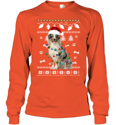 Australian Shepherd Xmas Dog Light Ugly Youth Long Sleeve