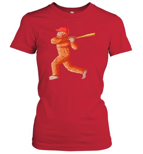 l055 bigfoot baseball sasquatch playing baseball player ladies t shirt 20 front red