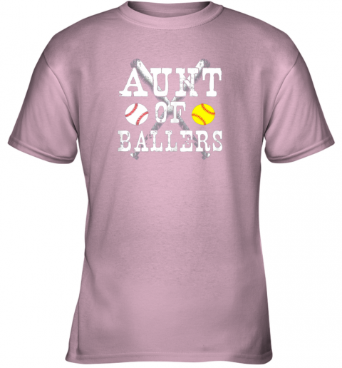 bp54 vintage aunt of ballers shirt funny baseball softball love youth t shirt 26 front light pink
