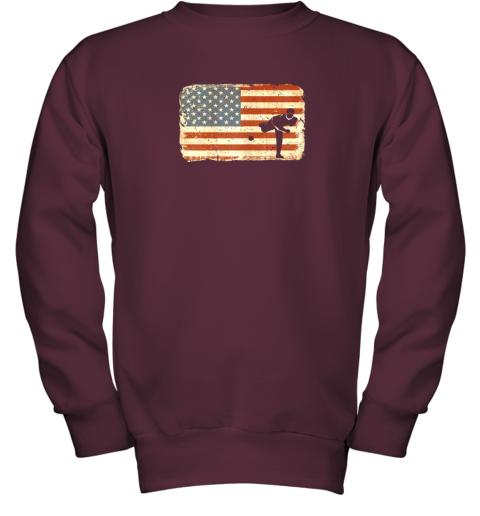 rpzk vintage baseball pitcher shirt american flag youth sweatshirt 47 front maroon