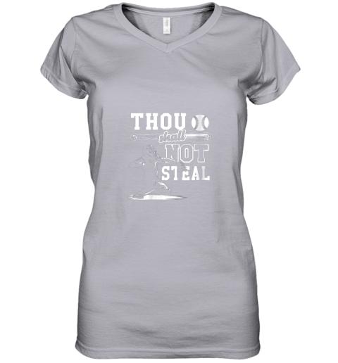 gx5y funny baseball thou shall not steal baseball player women v neck t shirt 39 front sport grey