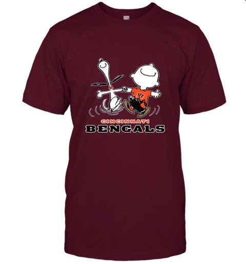 Snoopy And Charlie Brown Happy Cincinnati Bengals Fans Unisex Jersey Tee