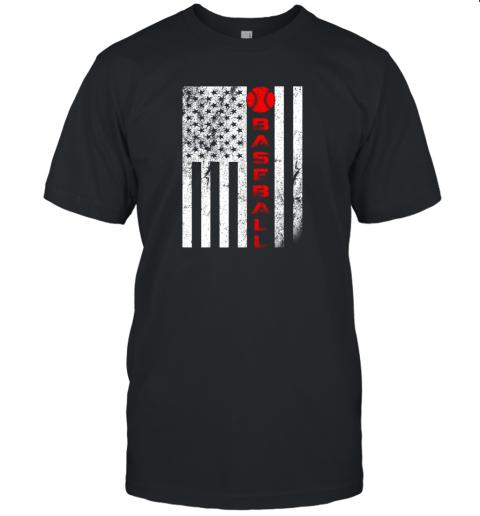 USA Red White Vintage American Flag Baseball Gift Unisex Jersey Tee