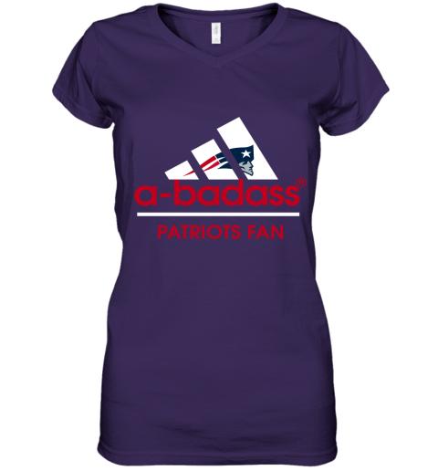 wumj a badass new england patriots mashup adidas nfl shirts women v neck t shirt 39 front purple