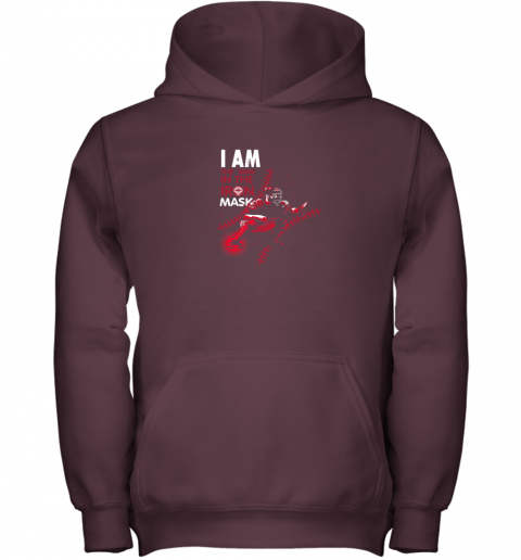 wuor i am the man in the iron mask baseball catcher youth hoodie 43 front maroon