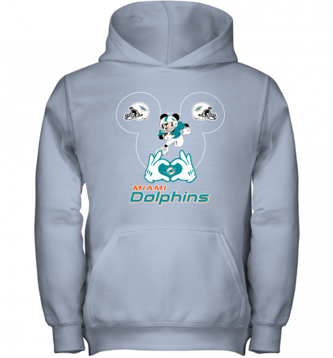 4szz i love the dolphins mickey mouse miami dolphins youth hoodie 43 front light pink