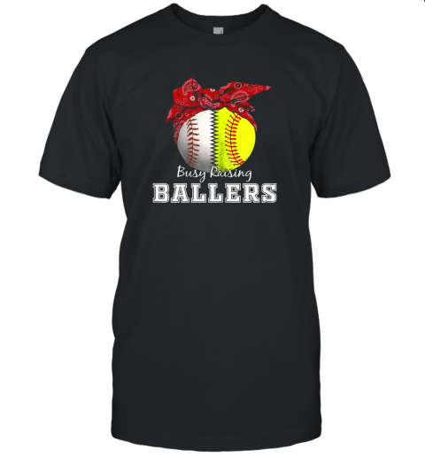 Busy Raising Ballers Softball Baseball Shirt Baseball Mom Unisex Jersey Tee