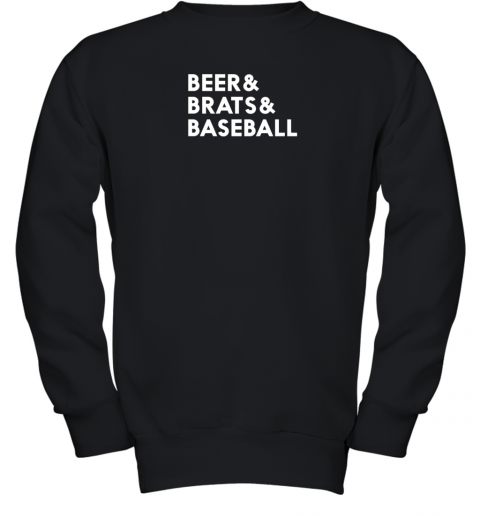 Beer Brats Baseball Summer Ampersand List Youth Sweatshirt