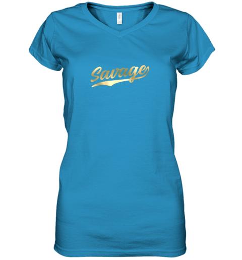 q2tw savage shirt retro 1970s baseball script font women v neck t shirt 39 front sapphire