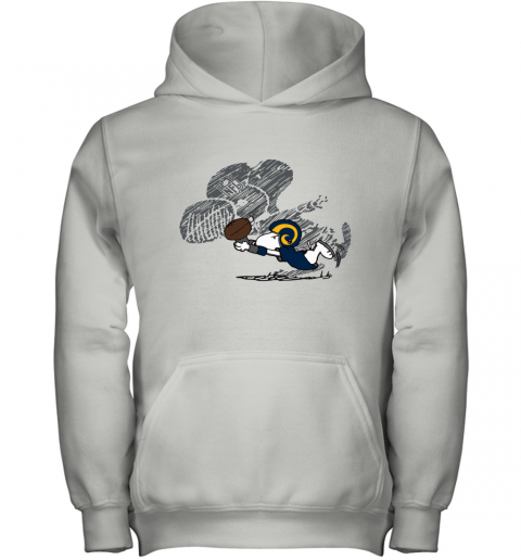 Los Angeles Rams Snoopy Plays The Football Game Youth Hoodie