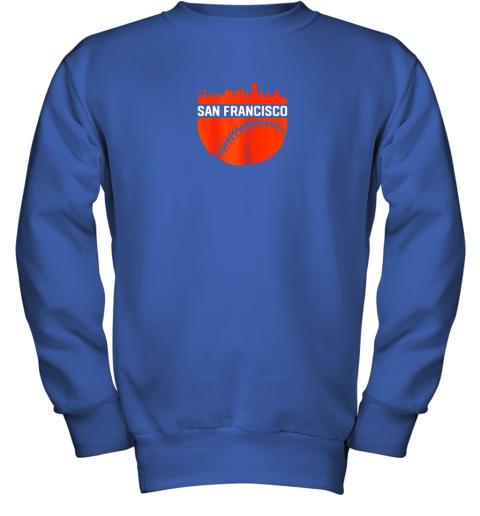 x0kx vintage downtown san francisco cali skyline baseball youth sweatshirt 47 front royal