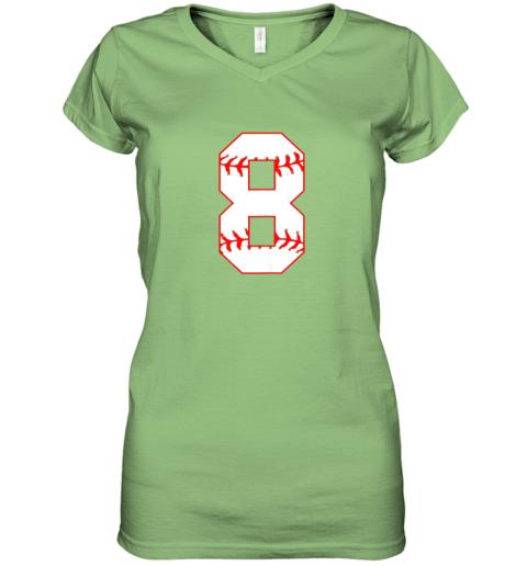ix9l cute eighth birthday party 8th baseball shirt born 2011 women v neck t shirt 39 front lime