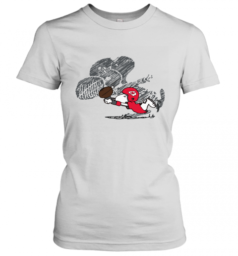 Kansas City Chiefs Snoopy Plays The Football Game Women's T-Shirt