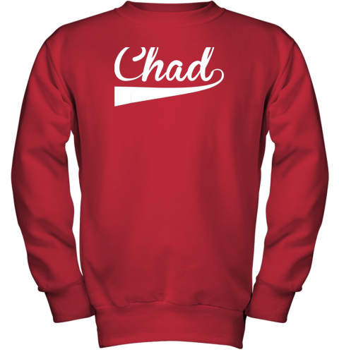 zcpf chad country name baseball softball styled youth sweatshirt 47 front red
