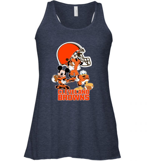 pwk3 mickey donald goofy the three cleveland browns football flowy tank 32 front heather navy