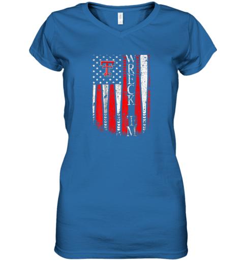 sqwq texas tech red raiders baseball flag team name women v neck t shirt 39 front royal