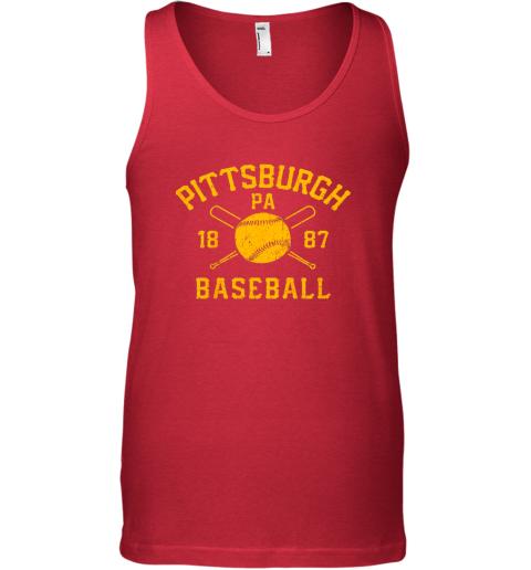64sd vintage pittsburgh baseball pennsylvania pirate retro gift unisex tank 17 front red
